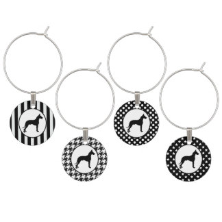 Black and White Great Dane Wine Glass Charms