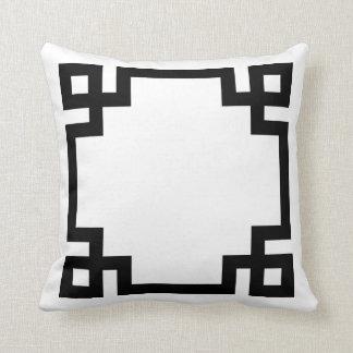 Black and White Greek Key Border Throw Pillows
