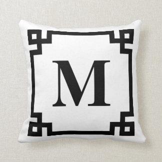 Black and White Greek Key Border Monogram Throw Pillow