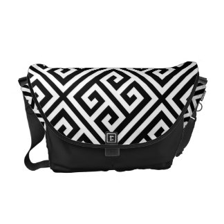 Black and White Greek Key Pattern Courier Bags