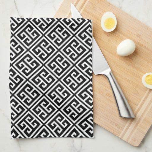 Black and White Greek Key Pattern Kitchen Towel
