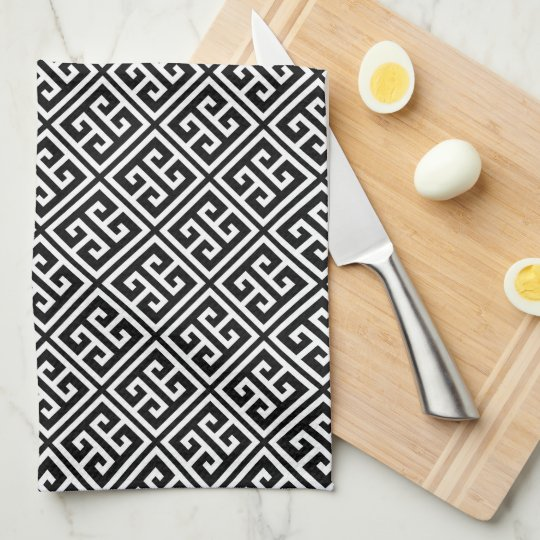 Black and White Greek Key Pattern Tea Towel