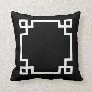 Black and White Greek Key Throw Pillow