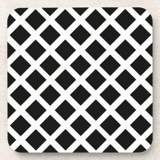Black And White Grid Optical Illusion Pattern Coaster