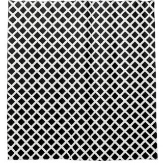 Black And White Grid Optical Illusion Pattern Shower Curtain