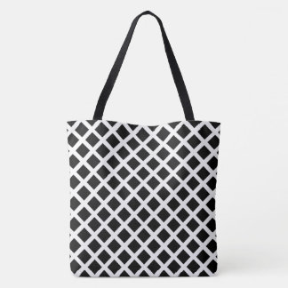Black And White Grid Optical Illusion Pattern Tote Bag