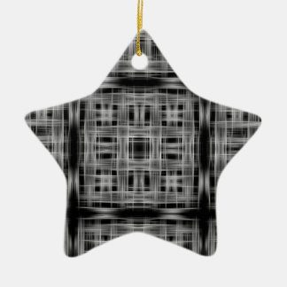 Black and white grid pattern christmas ornament