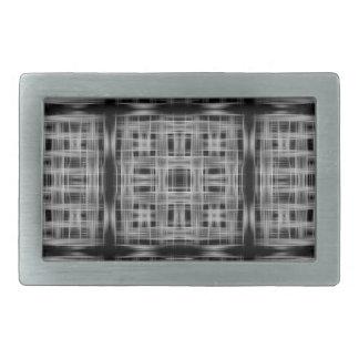Black and white grid pattern rectangular belt buckles