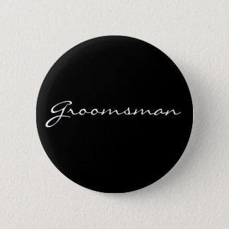 Black and White Groomsman Button
