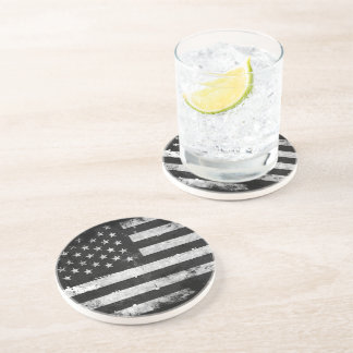 Black and White Grunge American Flag Coaster
