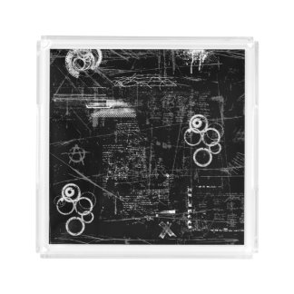 Black and White Grunge Square Tray