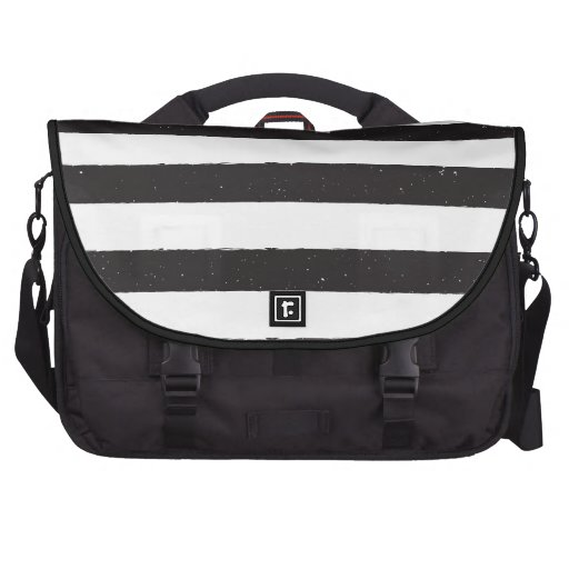 Black and White Grunge Stripes Commuter Bags