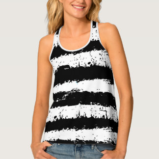 Black And White Grunge Stripes Tank Top