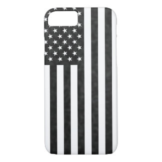 Black and White grunge vintage American Flag iPhone 8/7 Case