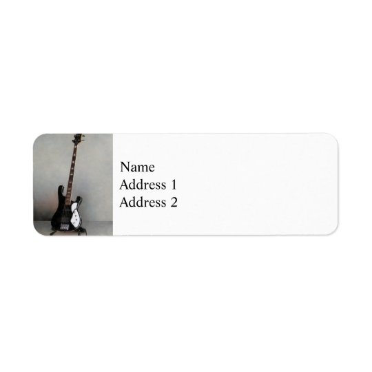 Black and White Guitar Return Address Label