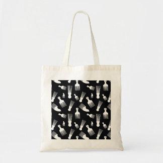 Black and white hair fashion budget tote bag