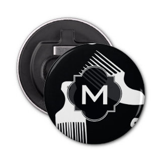 Black and white hair fashion button bottle opener