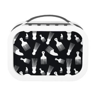 Black and white hair fashion lunchbox