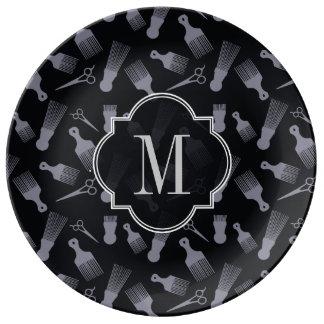 Black and white hair fashion porcelain plates