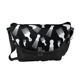 Black and white hair fashion messenger bags