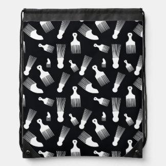 Black and white hair fashion drawstring bags