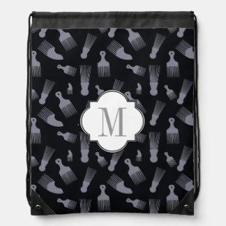 Black and white hair fashion cinch bags