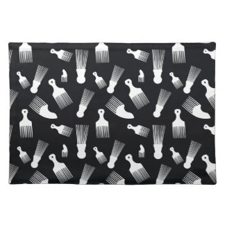 Black and white hair fashion placemats