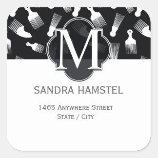 Black and white hair fashion square sticker