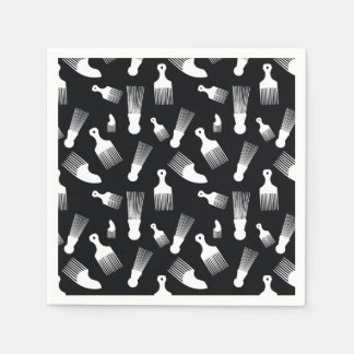 Black and white hair fashion paper napkins