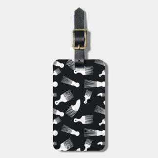 Black and white hair fashion travel bag tags