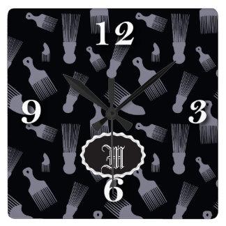 Black and white hair fashion wall clocks