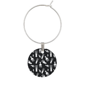 Black and white hair fashion wine glass charms