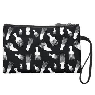 Black and white hair fashion wristlet clutch