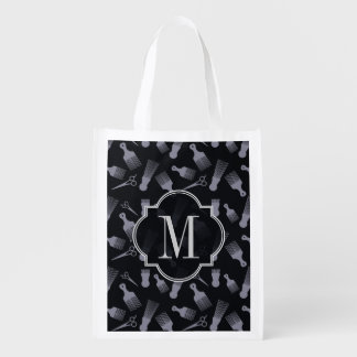 Black and white hair fashion grocery bag