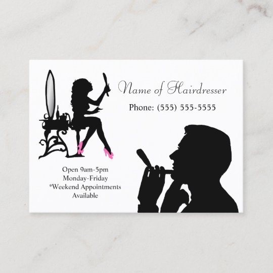Black and White Hairdresser For Men and Women Appointment Card