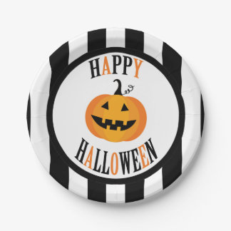 "Black and White Halloween 7"" Paper Plate"