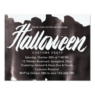Black and White Halloween Costume Party 11 Cm X 14 Cm Invitation Card