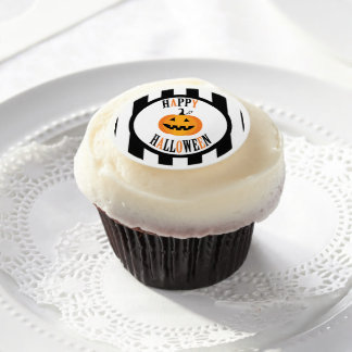 Black and White Halloween frosting rounds