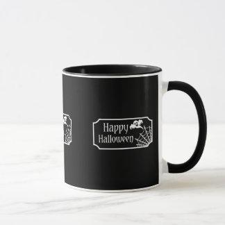 Black And White Halloween Ghost And Spiderweb Mug
