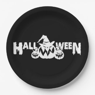 Black And White Halloween Pumpkins Paper Plate