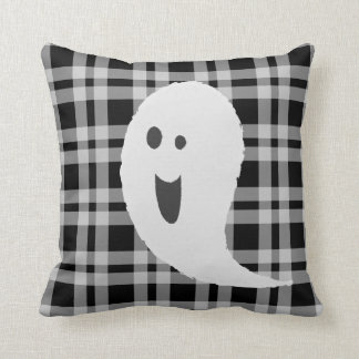 Black And White Halloween Spooky Smiley Ghost Cushion