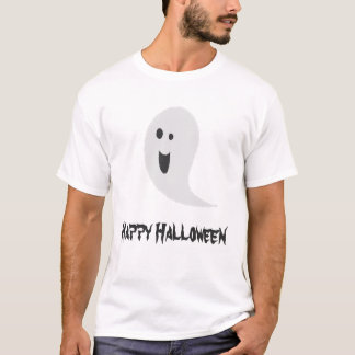 Black And White Halloween Spooky Smiley Ghost T-Shirt