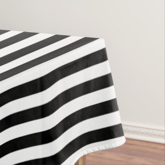 Black and White Halloween Stripe Cotton Tablecloth