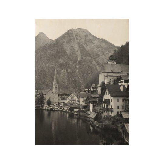 Black and White Hallstatt Wood Poster