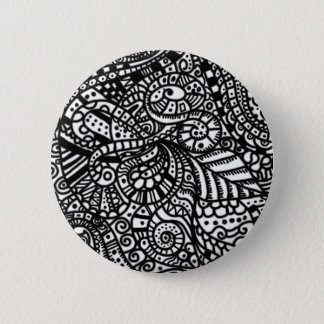 Black and white handpainted doodles 6 cm round badge