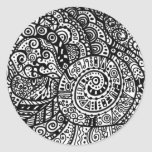 Black and white handpainted doodles round stickers