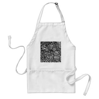 Black and white handpainted doodles standard apron