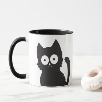 Black and white happy cat mug
