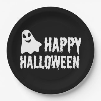 Black And White Happy Halloween Ghost Paper Plate