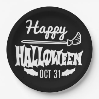 Black And White Happy Halloween Oct 31 Paper Plate